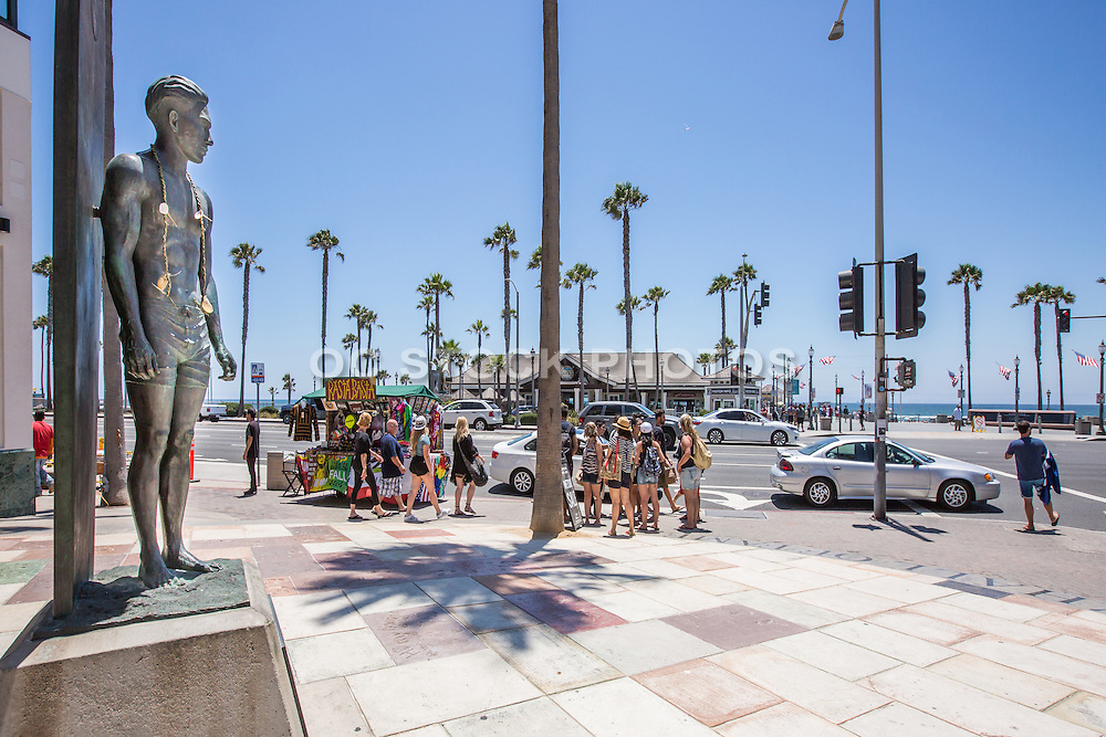 Surf Statue Duke Kahanamoku at Main Street and PCH in Huntington Beach
