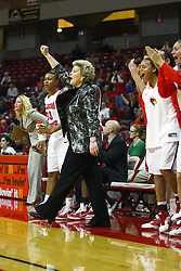 30 December 2010: Redbird bench reacts to a positive play during an NCAA Womens basketball game between the Bradley Braves and the Illinois State Redbirds at Redbird Arena in Normal Illinois.