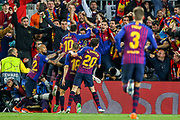 Goal Barcelona forward Lionel Messi (10) scores a goal and celebrates 2-0 during the Champions League semi-final leg 1 of 2 match between Barcelona and Liverpool at Camp Nou, Barcelona, Spain on 1 May 2019.