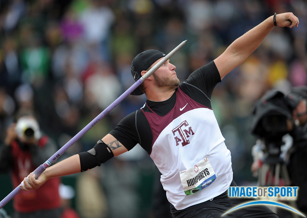 Jun 25, 2012; Eugene, OR, USA; Sam Humphreys of Texas A&M wins the javelin at 268-7 (81.86m) in the 2012 U.S. Olympic Team Trials at Hayward Field.