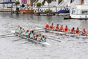 Henley on Thames, England, United Kingdom, Sunday, 07.07.19, Eton College (left)<br /> and<br /> Scotch College, Melbourne, Australia, AUS, (right) after crossing the line, in the Final, of Princess Elizabeth Challenge Cup, Henley Royal Regatta,  Henley Reach, [©Karon PHILLIPS/Intersport Images]<br /> <br /> 12:35:50 1919 - 2019, Royal Henley Peace Regatta Centenary,