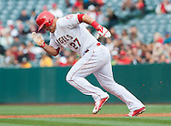 The Angels' Mike Trout steals second base in the third inning during the Halos' 2-0 victory over the Oakland Athletics April 23, 2015.