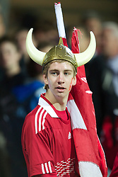 AALBORG, DENMARK - Saturday, June 11, 2011: A Denmark supporter  looks dejected after his side's 1-0 defeat by Switzerland during the UEFA Under-21 Championship Denmark 2011 Group A match at the Aalborg Stadion. (Photo by Vegard Grott/Propaganda)