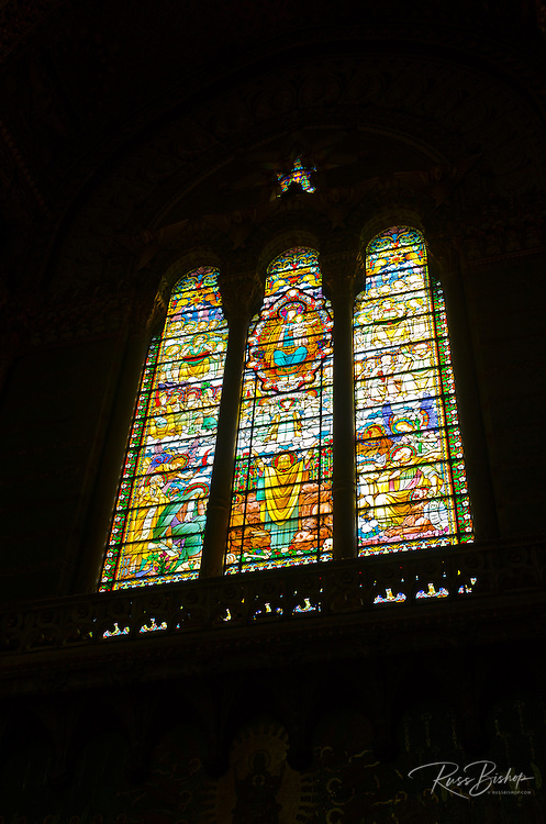 Stained glass window in the Fourvière Basilica in old town Vieux Lyon, France (UNESCO World Heritage Site)