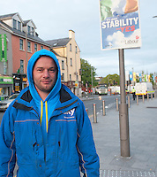 Mikey Ward  from Occupy Galway in Eyre Square after the Encampment was removed in Galway City. Photo:Andrew Downes