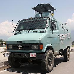 Indian Tata armored personnel carrier of the Central Reserve Police Force, during the Kashmir crisis. Srinagar, Kashmir & Jammu, India