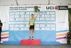 Chanella Stougje (NED) of Parkhotel Valkenburg Cycling Team celebrates the 'Best Young Rider' title after the Philadelphia International Cycling Classic, a 117.8 km road race in Philadelphia on June 5, 2016 in Philadelphia, PA.