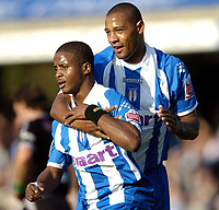 Photo: Olly Greenwood.<br />Colchester United v West Bromwich Albion. Coca Cola Championship. 20/10/2007.  Colchester's Kevin Lisbie celebrates scoring with Clive Platt