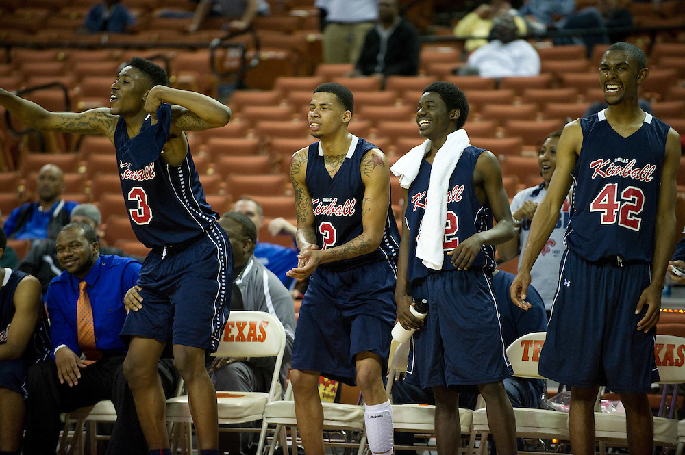 Dallas Kimball celebrates after defeating San Antonio Northside Brennan during the UIL Conference 4A semifinals at the Frank Erwin Center in Austin on Thursday, March 7, 2013. (Cooper Neill/The Dallas Morning News)