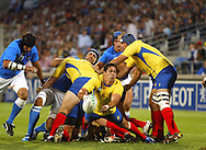 Marseille, FRANCE - 12th September 2007, Lucian Sirbu of Romania releases the ball from the scrum during the Rugby World Cup, pool C, match between Italy and Romania held at the Stade Velodrome in Marseille, France...Photo: Ron Gaunt/ Sportzpics