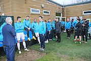 Players of both teams waiting around during the power cut before the match during the Vanarama National League match between Forest Green Rovers and Dover Athletic at the New Lawn, Forest Green, United Kingdom on 17 December 2016. Photo by Shane Healey.