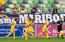 Robert Beric, Rajko Rep, Marcos Tavares of Maribor celebrate during football match between NK Primorje and NK Maribor of 1st Slovenian football league PrvaLiga, on May 21, 2011 in Ajdovscina, Slovenia. Maribor defeated Primorje 2-1 and became Slovenian national Champion 2010/2011. (Photo By Vid Ponikvar / Sportida.com)