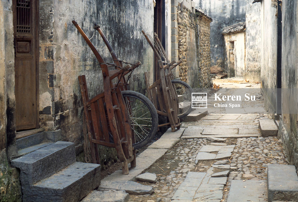 Wheelbarrows in the ancient lane in a small town, Anhui Province, China