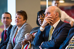 © Licensed to London News Pictures. 04/04/2018. Watford, UK. Sir Vince Cable (R) launches the Liberal Democrat election campaign at Watford Football Club. Photo credit: Rob Pinney/LNP