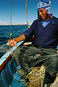 Giant Titicaca Frog in Fishing Net<br />