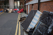 Days after the arrrest of Julian Assange in Knightsbridge, assorted rubbish is still piled up at the rear of the Ecuadorian embassy, on 15th April 2019, in London, England.