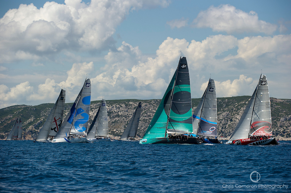 The TP52 fleet head to the first mark in race four of the Audi MedCup regatta, Marseille, France. 17/6/2010