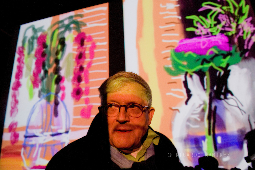 "07.04.11. Humlebaek, Denmark.  David Hockney's press conference for the opening of the exhibition ""Me Draw on iPad"" at the Museum of Modern Art Lousiana.Photo: © Ricardo Ramirez"