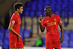 BIRKENHEAD, ENGLAND - Wednesday, September 28, 2016: Liverpool's Mamadou Sakho gives instructions to team-mate Tiago Ilori during the Premier League International Cup match against Wolfsburg at Prenton Park. (Pic by David Rawcliffe/Propaganda)