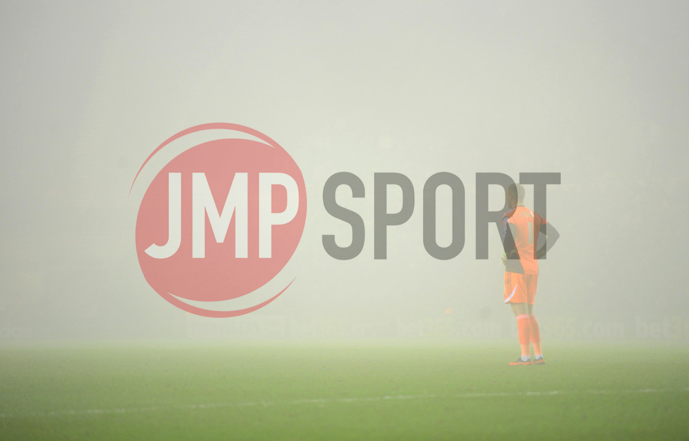 Middlesbrough's Jason Steele stands alone on the misty pitch at the River side Stadium - Photo mandatory by-line: Joe Meredith/JMP  - Tel: Mobile:07966 386802 24/11/2012 - Middlesbrough v Bristol City - SPORT - FOOTBALL - Championship -  Middlesbrough  - River Side Stadium