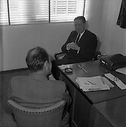 18/05/1961<br /> 05/18/1961<br /> 18 May 1961<br /> Mr. Colm Barnes, Glen Abbey Textiles, being interviewed by  Jim Gilbert, editor of Development at Glenabbey Textiles, Tallaght, Dublin.