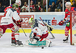 22.03.2019, Stadthalle, Klagenfurt, AUT, EBEL, EC KAC vs HCB Suedtirol Alperia, Viertelfinale, 5. Spiel, im Bild Paul GEIGER (HCB Suedtirol Alperia, #3), Jacob SMITH (HCB Suedtirol Alperia, #1), Stefan GEIER (EC KAC, #19), Mich WAHL (EC KAC, #79) // during the Erste Bank Icehockey 5th quarterfinal match between EC KAC and HCB Suedtirol Alperia at the Stadthalle in Klagenfurt, Austria on 2019/03/22. EXPA Pictures © 2019, PhotoCredit: EXPA/ Gert Steinthaler