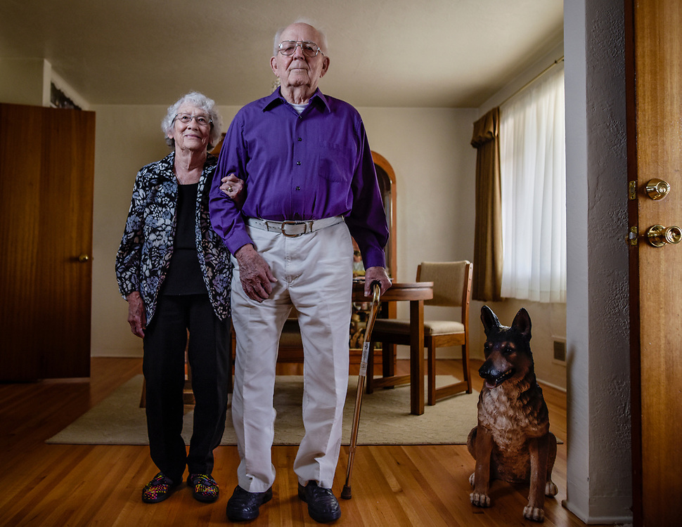 rer052517g/A1/May 25, 2017/Albuquerque Journal<br /> WWII Navy Veteran J.W. Herman(Cq), 93,  recently received medals he earned for his service. Here he is pictured with his wife Barbara.<br /> Roberto E. Rosales/Albuquerque Journal