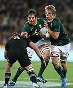 Eben Etzebeth & Pieter-Steph du Toit of South Africa during the Rugby Championship match between the New Zealand All Blacks & South Africa at Westpac Stadium, Wellington on Saturday 27th July 2019. Copyright Photo: Grant Down / www.Photosport.nz
