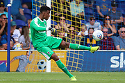 AFC Wimbledon goalkeeper Nathan Trott (1) clearing the ball during the EFL Sky Bet League 1 match between AFC Wimbledon and Accrington Stanley at the Cherry Red Records Stadium, Kingston, England on 17 August 2019.