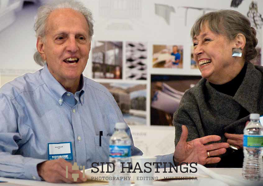 2 APRIL 2011 -- ST. LOUIS -- Jerry Sincoff (left) and Cynthia Weese, former deans of architecture at Washington University in St. Louis, discusses 100 years of architecture at Washington University in St. Louis during a panel featuring four former deans of architecture at WUSTL Saturday, April 2, 2011. Photo by Sid Hastings © copyright 2011 Washington University in St. Louis.