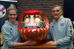 06-01-2020 NED: CEV Tokyo Volleyball European Qualification Women, Apeldoorn<br /> Press moment and representatives of the eight national teams for one spot Tokyo 2020 / Maret Balkestein-Grothues #6 of Netherlands, Coach Giovanni Caprara of Netherlands and Daruma, the founder of the Zen.