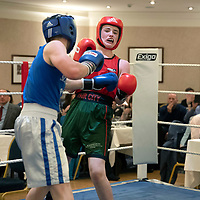Chris Millar Testimonial Boxing Night at The Salutation Hotel, Perth..15.09.18<br />Glen Addison (red) from Fair City ABC in his 62kg bout against Sam Johnstone<br />Picture by Graeme Hart.<br />Copyright Perthshire Picture Agency<br />Tel: 01738 623350  Mobile: 07990 594431
