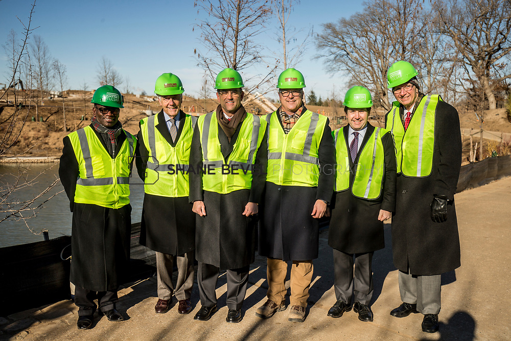 1/12/18 11:12:18 AM -- Halliburton CEO Jeff Miller and George Kaiser visit the Gathering Place for a press conference announcing Halliburton's support for the park. <br /> <br /> Photo by Shane Bevel