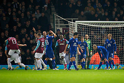 LONDON, ENGLAND - Tuesday, December 28, 2010: Everton's Tony Hibbert looks dejected after deflecting the ball into his own net scoring an own goal to gift West Ham United the opening goal during the Premiership match at Upton Park. (Pic by: David Rawcliffe/Propaganda)