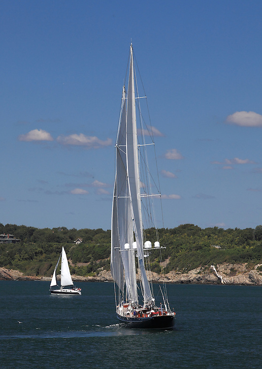S/Y Meteor at the start of the 2010 Newport Bucket. Super yachts racing in the 2010 Newport Bucket.