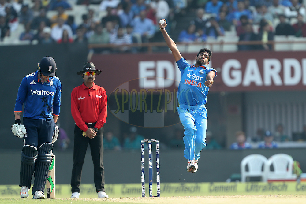 Jasprit Bumrah of India during the third One Day International (ODI) between India and England  held at Eden Gardens in Kolkata on the 22nd January 2017<br /> <br /> Photo by: Ron Gaunt/ BCCI/ SPORTZPICS