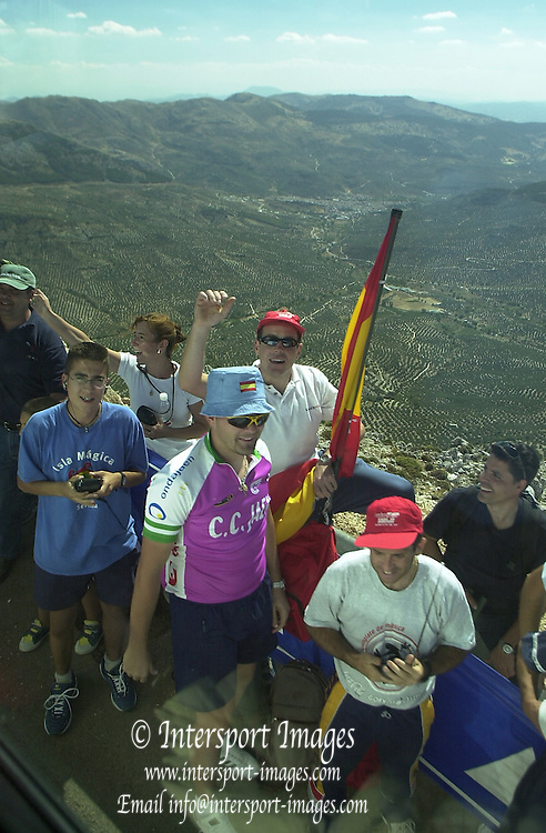 2002 Tour of Spain - SPAIN. [Vuelta Ciclista a España], Stage 6  - Granada to Sierra de la Pandera (Jaen). Fans on the side of the road in the final climb to the finish of the sixth stage, .© Photo Peter /Intersport Images.