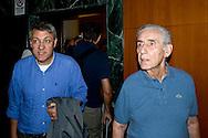 Roma 8 Settembre 2013<br /> Assemblea  in difesa della Costituzione.<br /> Maurizio Landini, segretario generale Fiom-Cgil, Stefano Rodot&agrave;