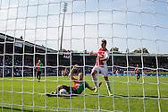 NIJMEGEN, NEC - Ajax, voetbal, Eredivsie seizoen 2015-2016, 23-08-2015, Stadion De Goffert, NEC speler Rens van Eijden (M) scoort in zijn eigen doel onder druk an Ajax speler Arek Milik (2R), eigen doelpunt, 0-2 voor Ajax.