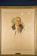 The unfinished watercolor portrait painting by artist Elizabeth Shoumatoff of U.S. President Franklin Roosevelt in the museum at the Little White House in Warm Springs, Georgia. The painter was just beginning the portrait session when FDR collapse and died of massive cerebral hemorrhage while at the vacation home.