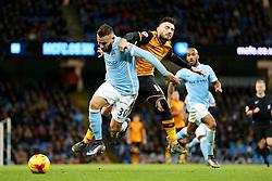 Robert Snodgrass of Hull City is blocked by Nicolas Otamendi of Manchester City  - Mandatory byline: Matt McNulty/JMP - 01/12/2015 - Football - Etihad Stadium - Manchester, England - Manchester City v Hull City - Capital One Cup - Quarter-final