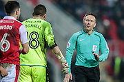 The Rotherham players complain to O. Landford (referee) after Blackburn score to level the game. They thought there was a foul in the lead-up to the goal during the EFL Sky Bet Championship match between Rotherham United and Blackburn Rovers at the AESSEAL New York Stadium, Rotherham, England on 11 February 2017. Photo by Mark P Doherty.