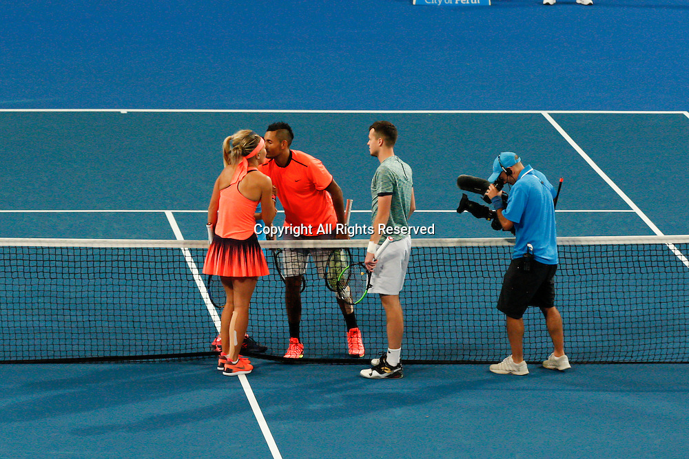 03.01.2017. Perth Arena, Perth, Australia. Mastercard Hopman Cup International Tennis tournament. The Czech Republic beat Australia 3-4, 4-3, 4-2 in the mixed doubles.