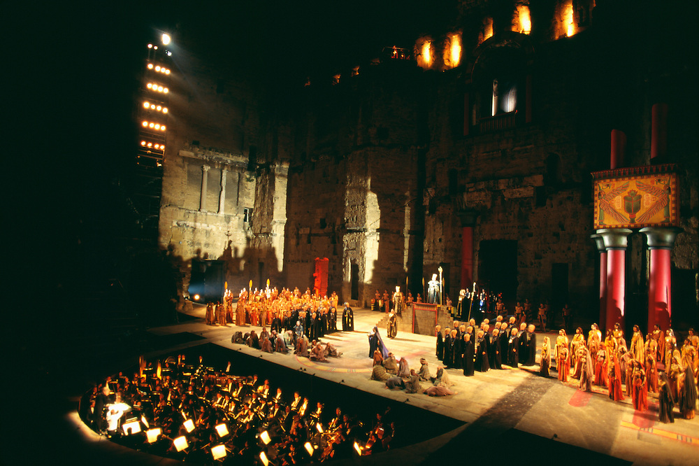France, Orange, Amphitheater (Teatra Antique), Performance of Aida.