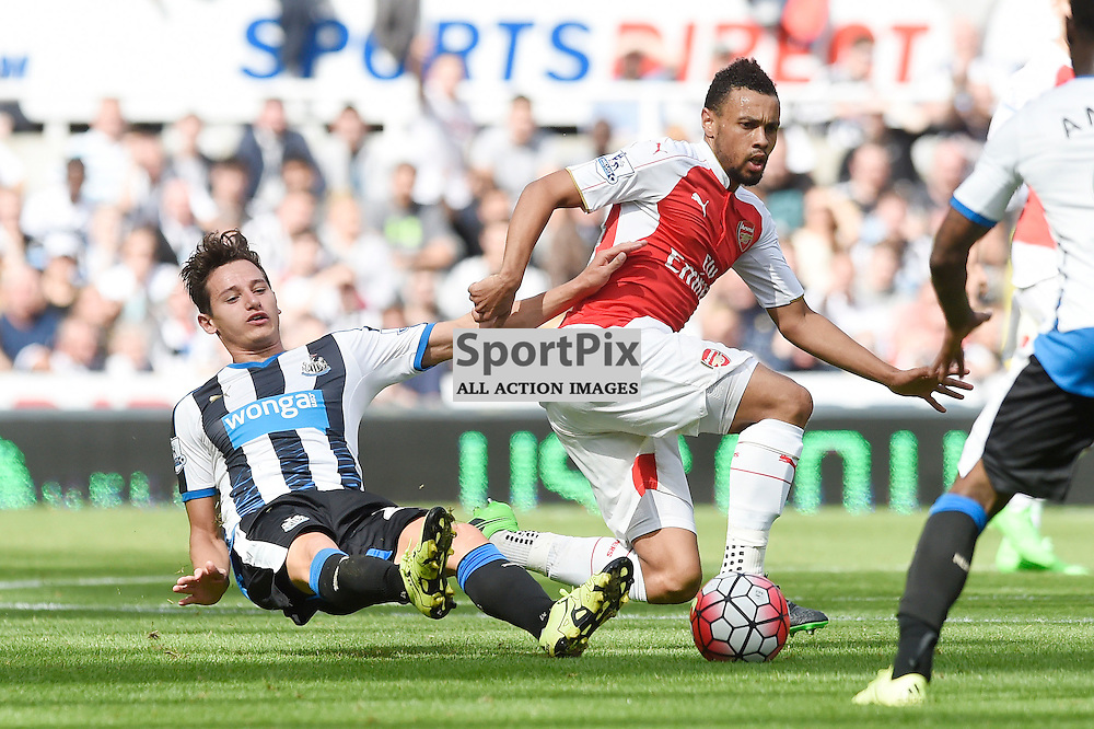 Florian Thauvin (left) and Francis Coquelin (right) in the Newcastle United v Arsenal Barclays Premier League match at St James' Park Newcastle 09 August 2015<br /> <br /> (c) Greg Macvean / SportPix.org.uk