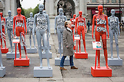 Actress Imelda Staunton launches ActionAid's International Safe Cities for Women Day at Marble Arch, with an interactive exhibition featuring a group of 30 mannequins, London.<br /> Picture date: Thursday May 19, 2016. A third of the mannequins featured in the installation will be marked in red, to represent the one in three women who experience violence in their lifetimes. But behind every statistic is a real woman, and on each mannequin are quotes from women around the world telling their experience of urban violence and the stories behind the statistics. ActionAid is campaigning for the UK government to commit to increasing the proportion of aid going directly to women's groups working on the frontline in poor communities. (photo by Andrew Aitchson/ActionAid)