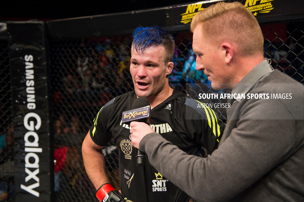 JOHANNESBURG, SOUTH AFRICA - MAY 13: Pierre Botha celebrates after defeating Azi Thomas during EFC 59 Fight Night at Carnival City on May 13, 2017 in Johannesburg, South Africa. (Photo by Anton Geyser/EFC Worldwide/Gallo Images)