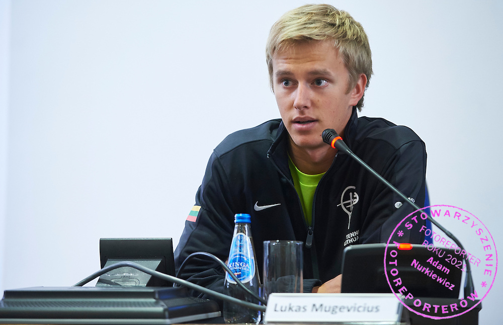 Lukas Mugevicius from Lithuania speaks during official draw one day before the Davies Cup / Group I Europe / Africa 1st round tennis match between Poland and Lithuania at City Hall Plock on March 5, 2015 in Plock, Poland<br /> Poland, Plock, March 5, 2015<br /> <br /> Picture also available in RAW (NEF) or TIFF format on special request.<br /> <br /> For editorial use only. Any commercial or promotional use requires permission.<br /> <br /> Mandatory credit:<br /> Photo by &copy; Adam Nurkiewicz / Mediasport