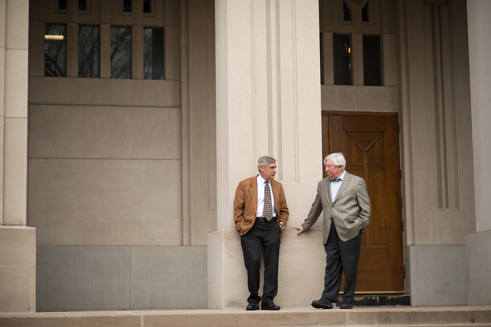 Joel Mokyr, left, and Robert Gordon converse Tuesday, April 29, 2014, on the campus of Northwestern University in Evanston, ILL.<br /> CREDIT: Rob Hart for The Wall Street Journal<br /> SLUG: GROWTH