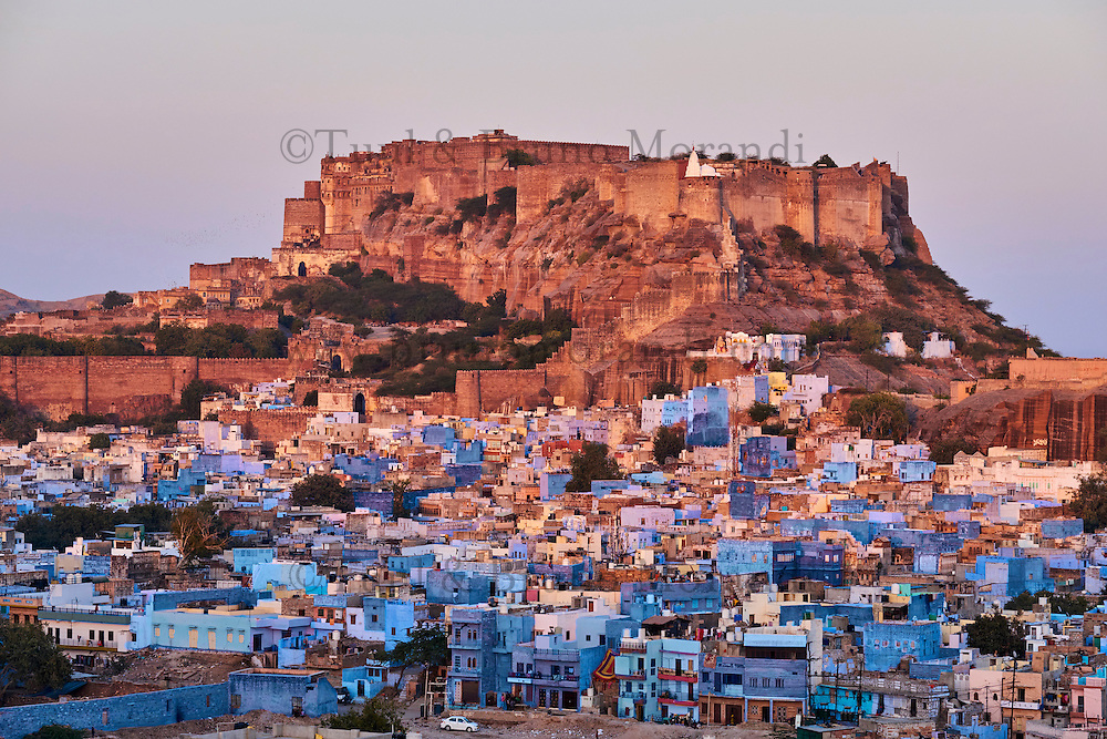 Inde, Rajasthan, Jodhpur la ville bleue, fort Mehrangarh // India, Rajasthan, Jodhpur, the blue city, Mehrangarh Fort